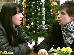 I just had to celebrate first winter days with amazing public restroom sex! But to do as a result I had to find a pretty target first. For that purpose I went to the malls with my ally Ilya, who is very good looking and helps a lot as a wing guy in the field. In the malls we ran into a hawt skinny brunette hair who was cold and bored and didn't have much to do. All that made a consummate pickup fuck target out of her. I was polite and charming when I offered the chick money for sex in the restroom. This Babe ...
