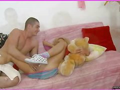 Brianna is home alone playing with her teddy bear when this babe is lastly approached by her stud. This Guy goes down on her cookie and laps up each drop of her moist snatch and then this guy bonks her slit hole with a purple sex-toy. That Guy fingers her constricted little chocolate hole as this guy stretches the muscle. This Babe takes a double penetration of the sextoy and his fingers in her holes. BriannaтАЩs booty is priceless and constricted and heтАЩs doing his most good to stretch it for his dick as this chab fingers her and stretches her muscle. Then little Brianna takes him in her mouth as heтАЩs still trying to stretch her open for his shlong. That Guy copulates her cum-hole for several minutes and then starts the task of putting the tip of his counter her butt in as that babe squirms. Lastly that babe sucks him off on the day-bed as that guy cums in her mouth.