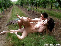 Majority of the time it`s just grapes growing in this vineyard, however this day it`s smth else that`s growing there. Just being around this brunette be alive hottie makes this stud`s rod grow hard. This Guy knows that as in a short time as they`re alone, that babe`s going to turn into a total nympho. It happens each time, even if they`re outdoors like this day. This Guy was right. In A Short Time, hidden solely by the rows of plants, they start to take off their raiment. It`s the starting of one very hawt hardcore fuck fest outdoors in this vineyard.