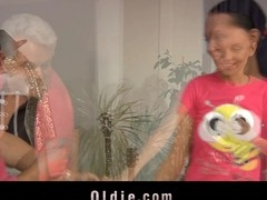 Old and juvenile get flirting whilst dancing and withing teasing they end up getting laid. Oldman's wang proves to be stiil working as provide her too a unfathomable assfuck