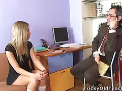 Blond chick came to the professor's office and in a during the time that his obese courtroom was sliding betwixt her soft vagina lips.