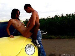 Berta wanted to go for a drive, but that babe didn`t tell her favourable boyfriend where this was going to end up. That Babe wanted some place where they could be alone and no one could hear her. This legal lifetime teenager nympho is a loud moaner and when this guy really starts to fuck her hard, it`s becomes really difficult for her to stay quiet. But in this spot that`s in the middle of nowhere, they can be as loud as they want. They`re not holding back anything this time. That Guy pounds her bawdy cleft right on the hood of the car and covers her face with cum.
