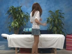 Sexy eighteen year old beauty gets fucked hard from behind by her massage therapist