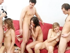 The blondie in this wild party porn episode knows how to work two large knobs! Watch this sexy fucking session!