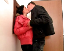 Brunette cute babe sucking and object fucked by big load of shit