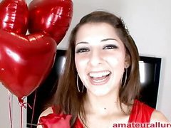 Gorgeous and energetic Abby blows dick and gets her face fucked solely to be bent over and get her fur pie pounded until this babe is satisfied then that babe gets a huge cum facial to go with her large smile.