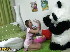 In this unusual sex clip u'll watch a beautiful teenage hotty playing with toy. But it's not just a toy, it's a large panda bear, and this guy's so fun to play with! This Chab can do anything the angel wants, but this babe should strip stripped in return. But imagine the angel's surprise when that babe saw panda's huge strap on! This Babe had not at any time thought of him as sex partner previous to, but since this chab's so well-equipped and horny, why not go for a nasty sex play with him? So the panda bear banged the breasty teenage in all possible poses ...