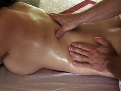 Giving playgirl lusty massage makes stud's penis hard like hell